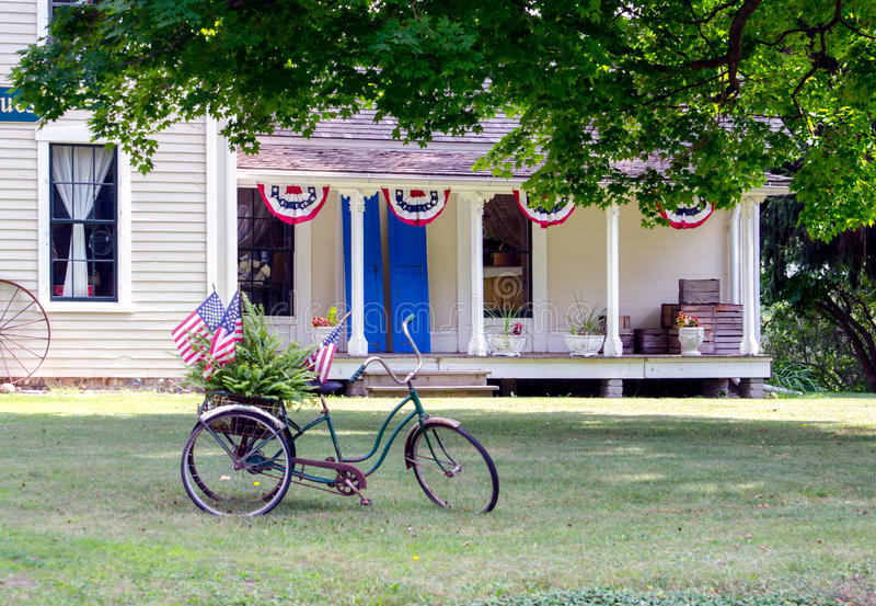 Old bike and country house stock photo