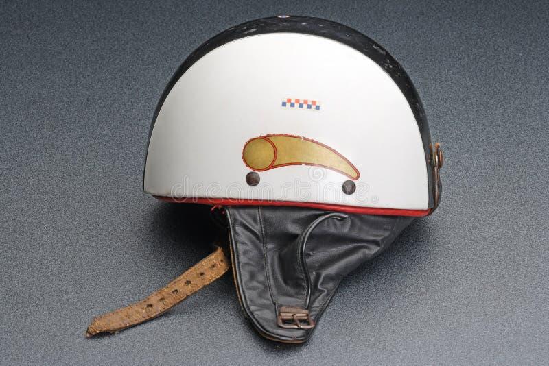 Old bike crash helmet stock images
