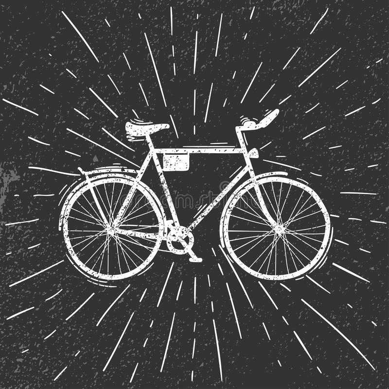 Old bike in the grunge style. Vector illustration royalty free illustration