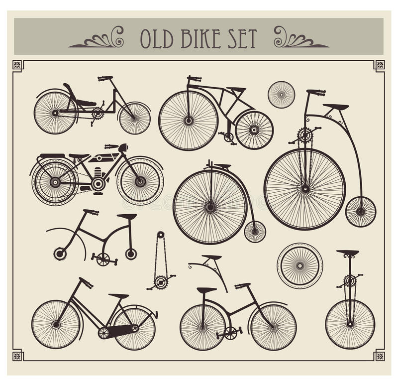 Old bikes vector illustration