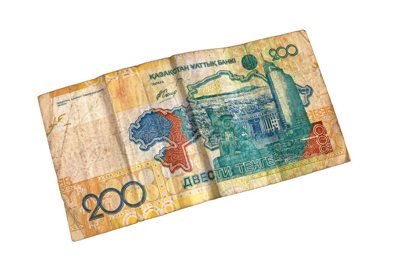 Old bill 200 tenge. stock photo