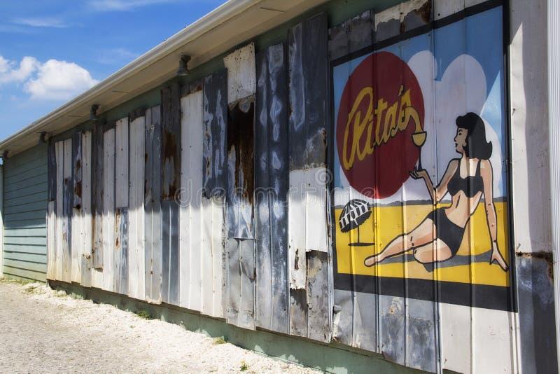 Old billboard at Folly Beach in Charleston South Carolina royalty free stock photos