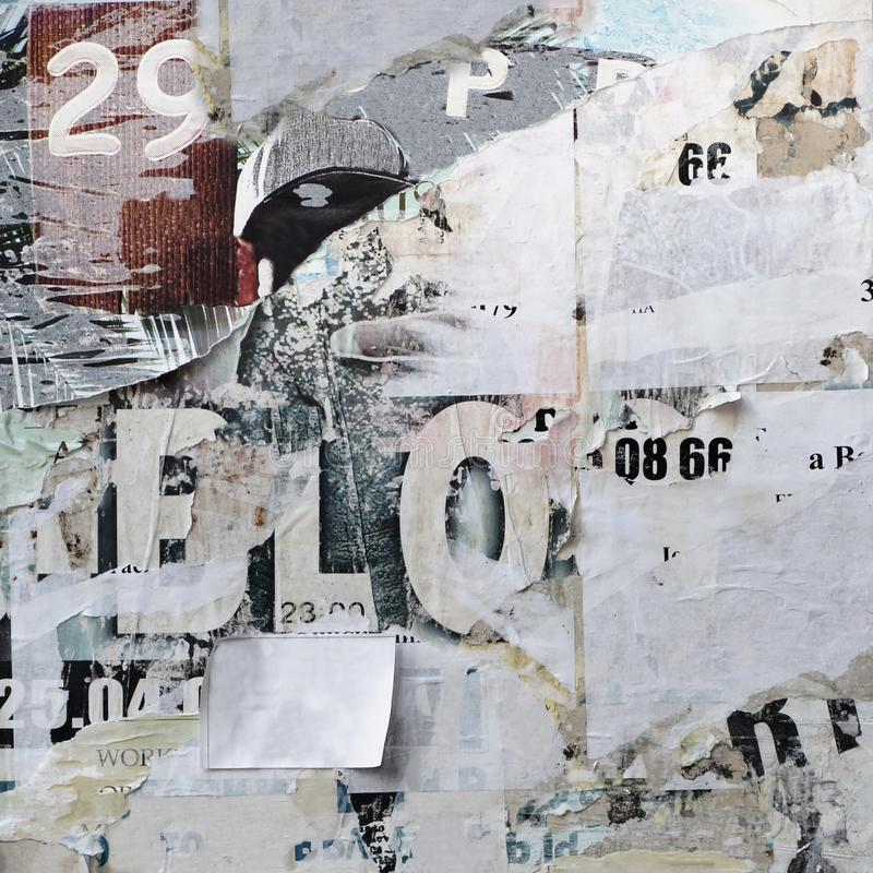 Old Billboard With Torn Paper Posters Texture Or Vertical Back stock image