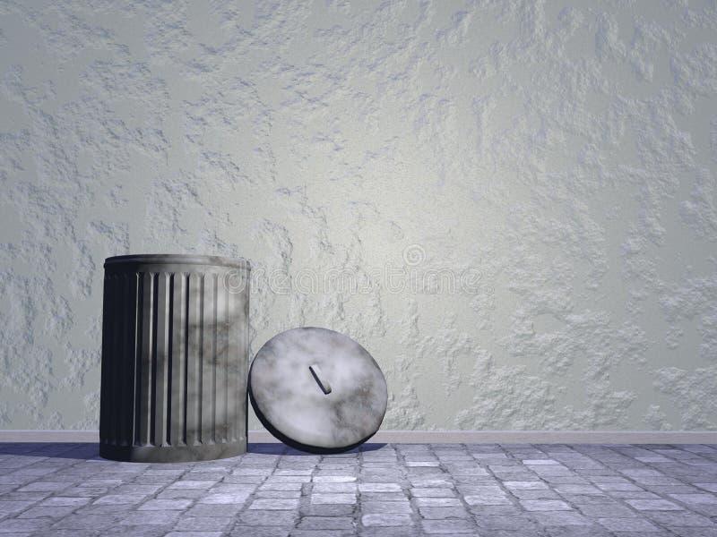 Old bin in the street - 3D render vector illustration