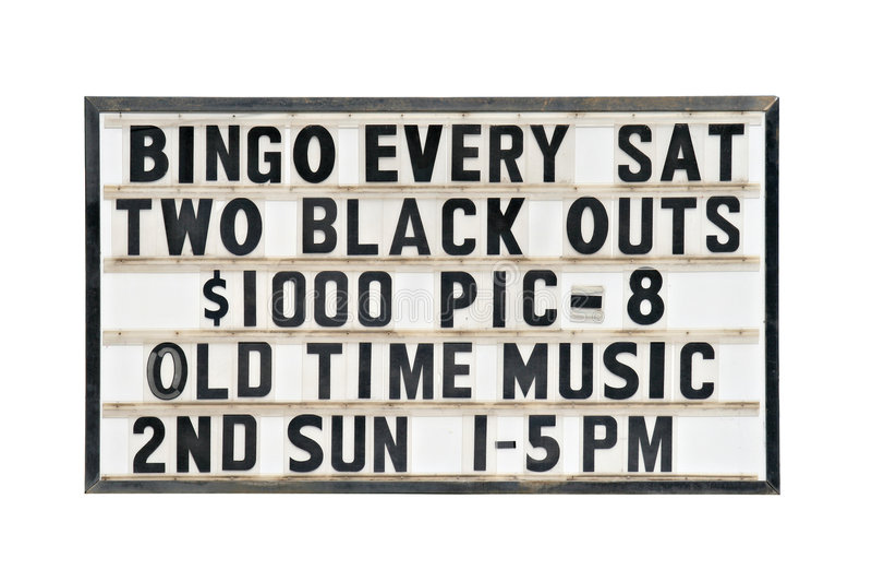Old bingo sign stock image