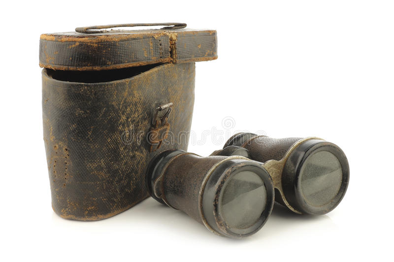 Old binoculars with a case royalty free stock images