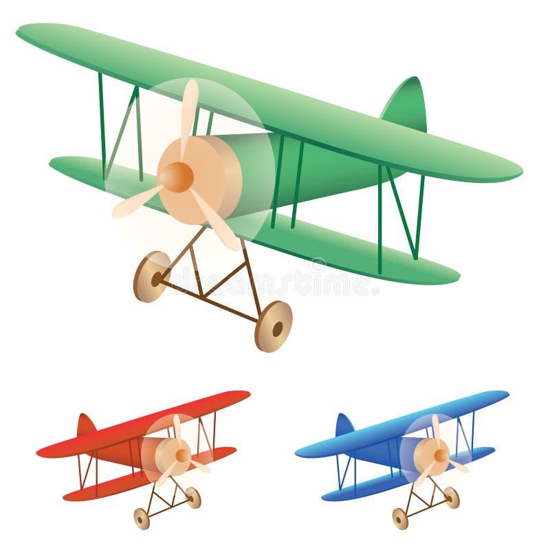 Old biplane. Vector illustration set of old biplane vector illustration