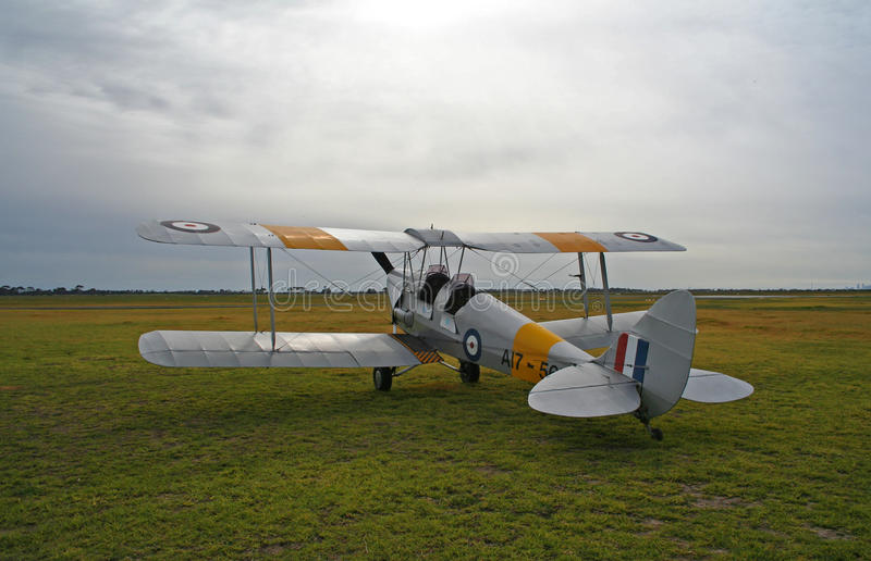 Old biplane. Tiger Moth biplane from World War One royalty free stock photo