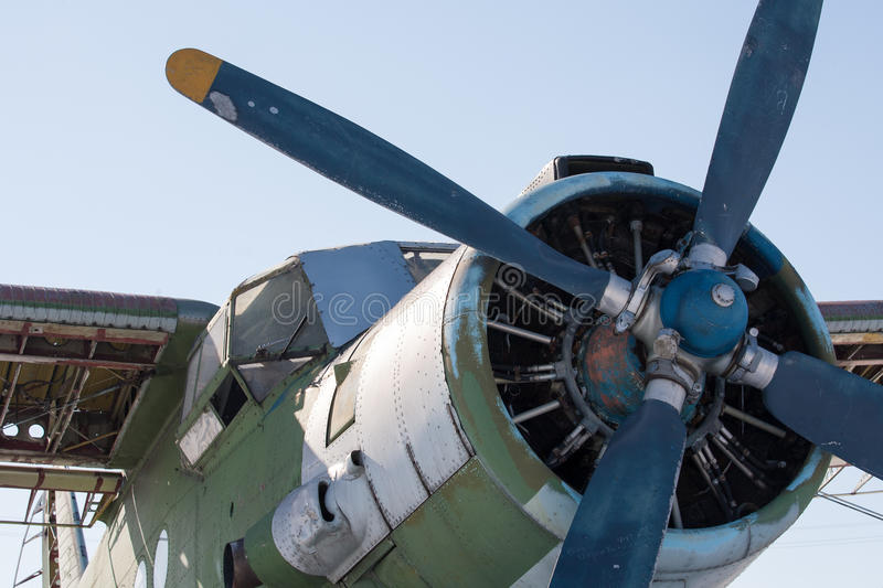 Old biplane. Old rusty biplane with propeller royalty free stock photos
