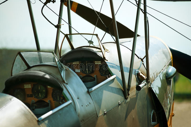 Old biplane cockpit. With navigation devices royalty free stock photography