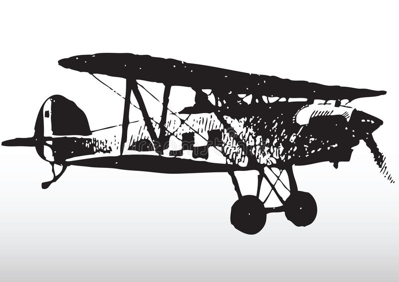Old biplane in flight. Illustration of old biplane aircraft in flight with white background royalty free illustration