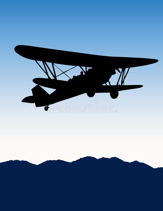 Download Old Biplane Silhouette Stock Vector Illustration Of Flight