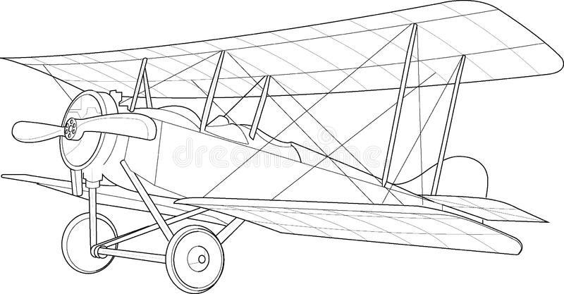 Old biplane sketch. The Canterbury (NZ) Aviation Co. Ltd Biplane royalty free illustration
