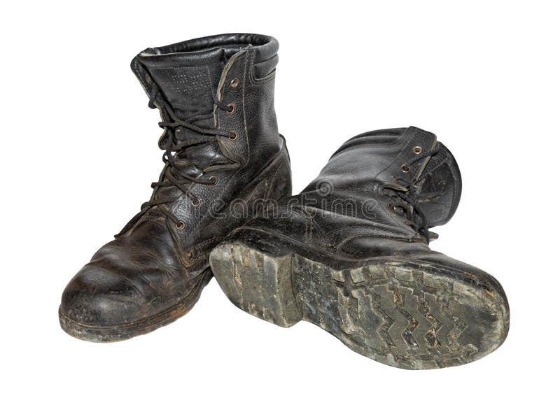 Old black army boots royalty free stock images
