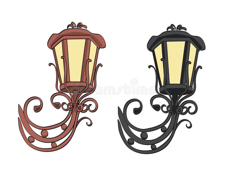Old black and brown vector vintage lamps stock illustration