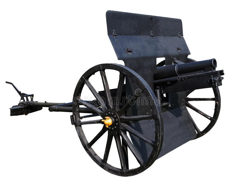 Old black cannon isolated white background use for ancient battle weapon nad decoration stock image