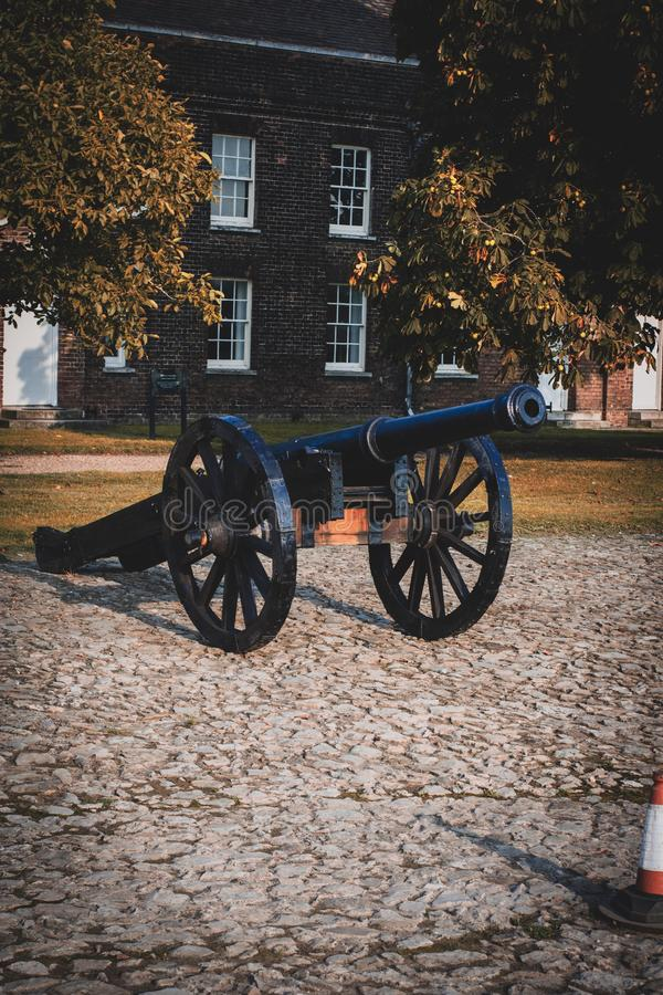 Old black cannon stock image