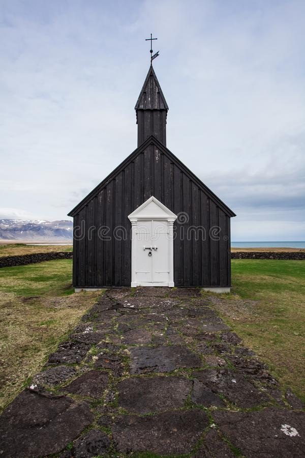 Old black church in Iceland royalty free stock photos