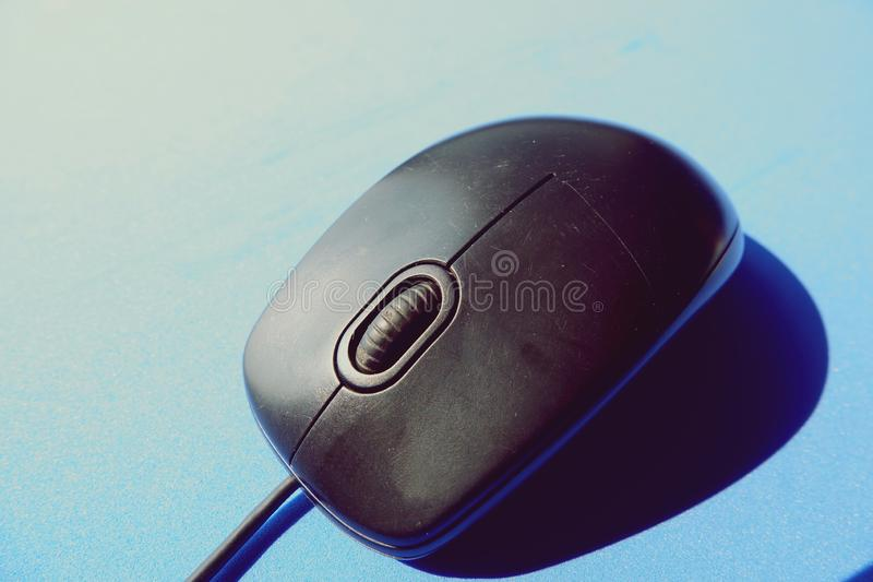 Old black computer mouse on blue background royalty free stock photography