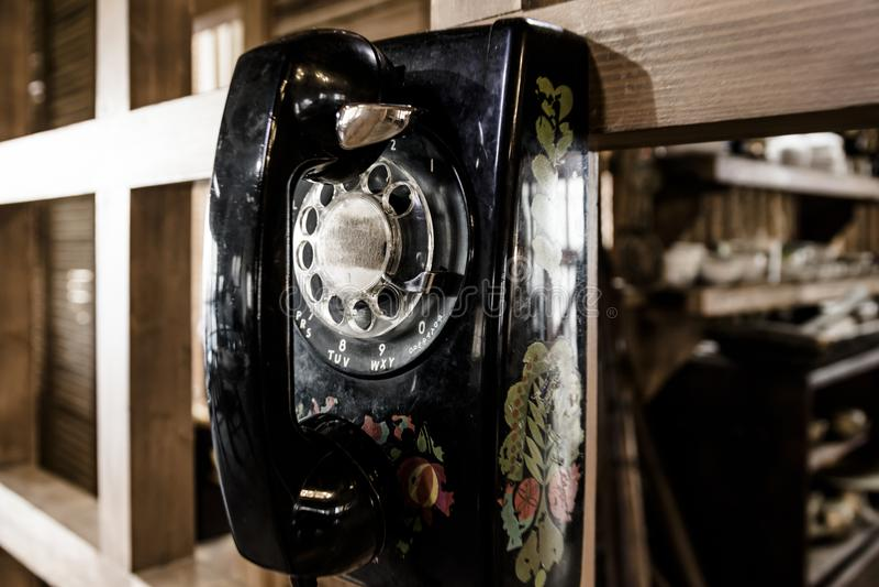 Old black dial telephone. Retro Antique Black Dial Telephone stock photos