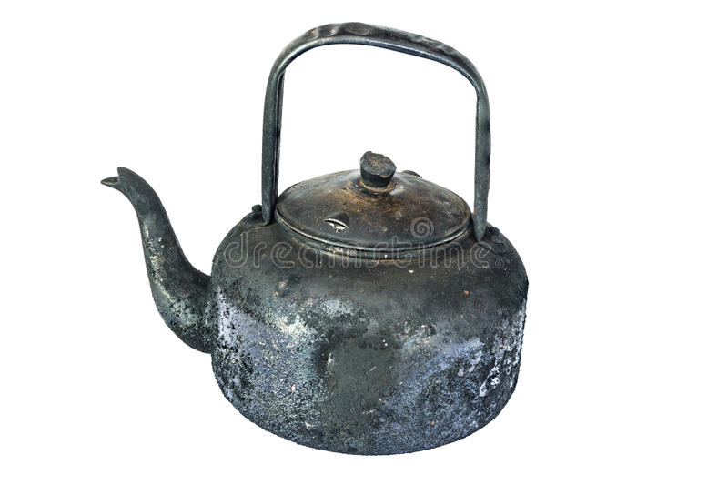 Old black kettle isolated on white. Background royalty free stock photos