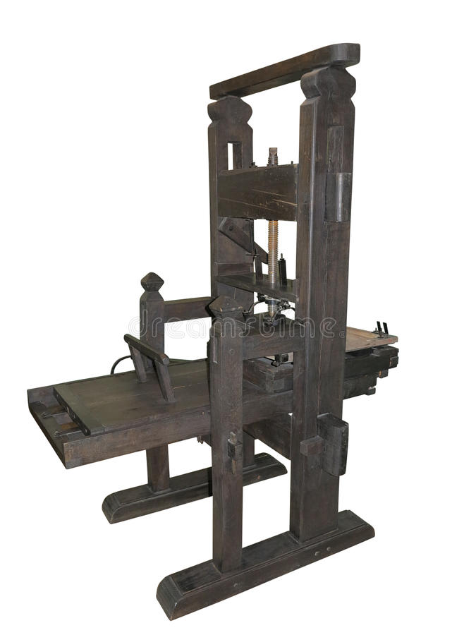 Download Old Black Letterpress Isolated On White Background Stock Image - Image of machine, plant: 30485699