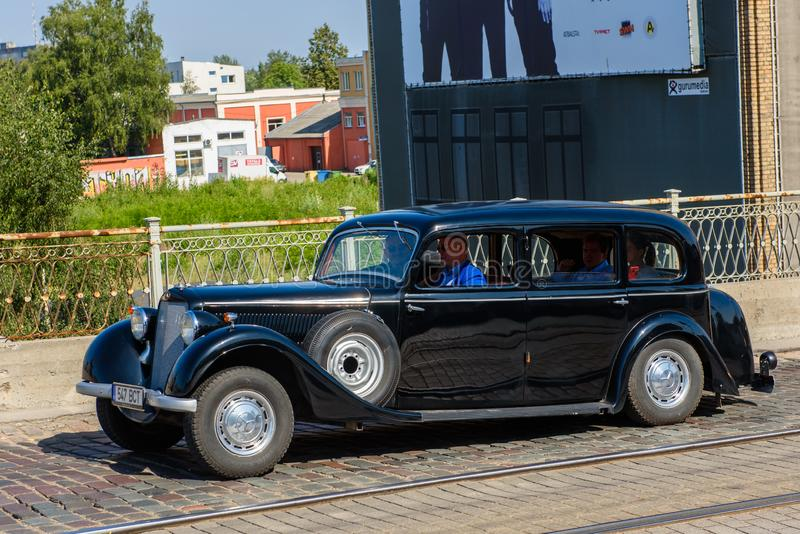 An old, black Mercedes Benz car, during Riga Retro 2019 royalty free stock photography