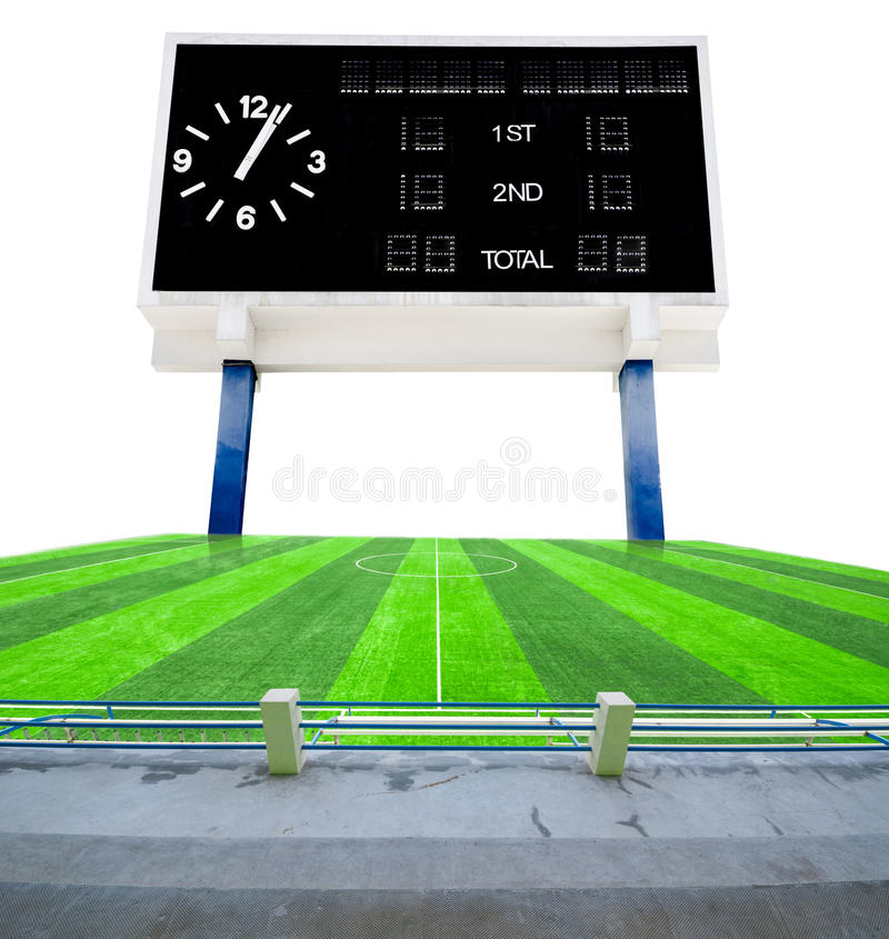 Old black score board in field soccer. Old black score board in field soccer on white background royalty free stock images