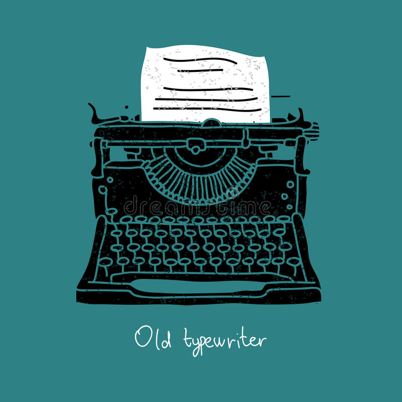 Old black typewriter. Vector illustration on a blue background, painted by hand royalty free illustration