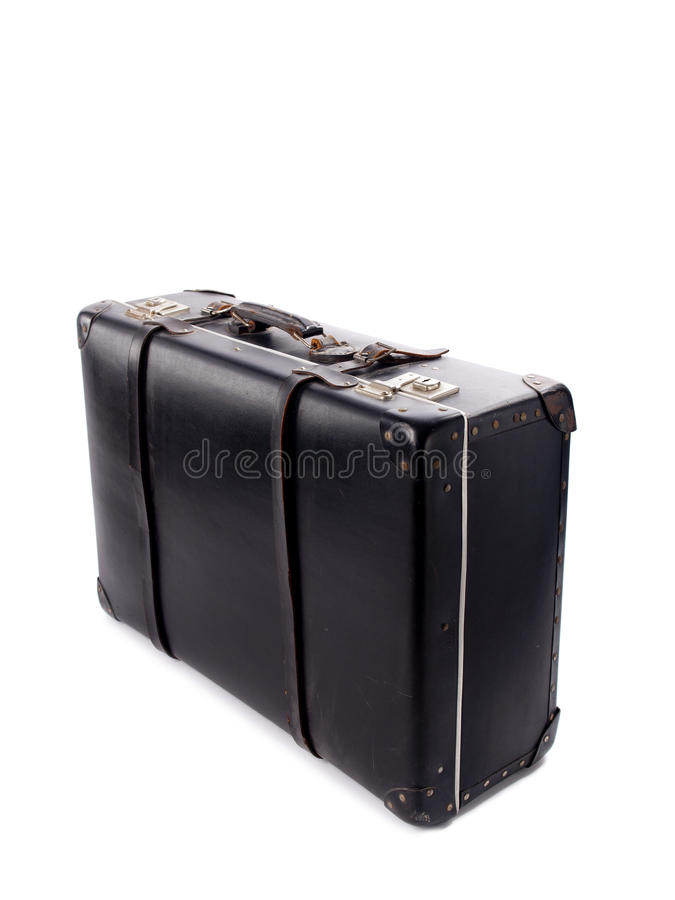 An Old Black Vintage Leather Suitcase With Straps And Locks Stock ...