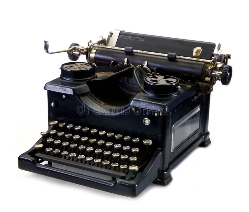 Old black vintage typewriter stock image
