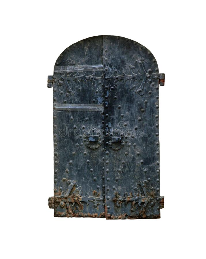 Old black vintage wrought iron rounded door isolated on white background stock photo