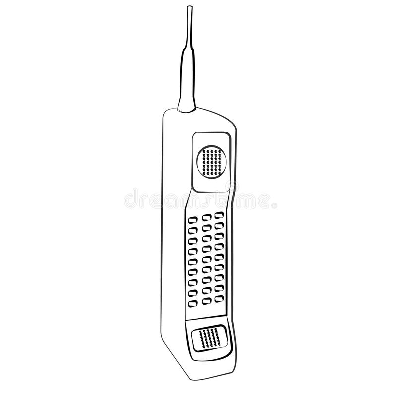 Old black-and-white bulk cellular large button square retro hipster vintage mobile phone with long antenna painted strokes stock illustration