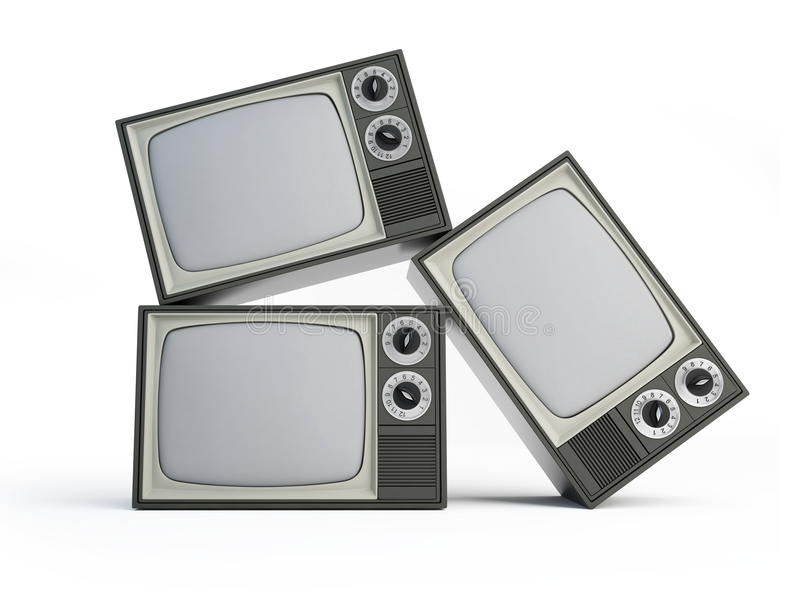 Old black and white TV. Isolated on a white background vector illustration