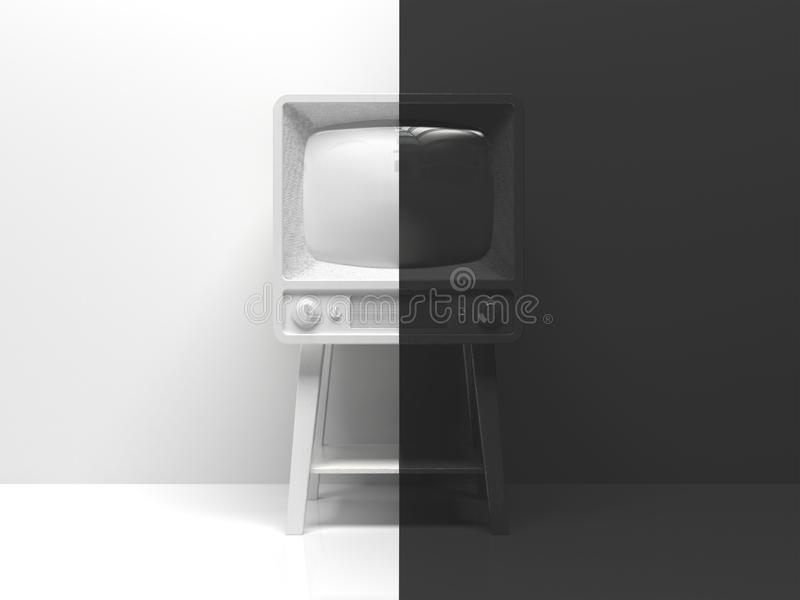 Old black and white tv in the interior divided in half into two parts in the middle.  One half is white, the other half is black. Creative conceptual royalty free illustration