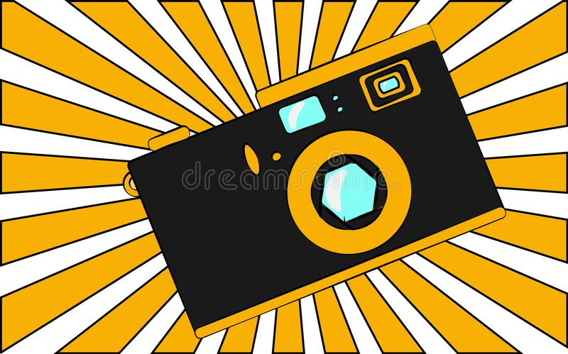 Old black and yellow retro vintage antique hipster obsolete camera against the background of orange rays. vector illustration