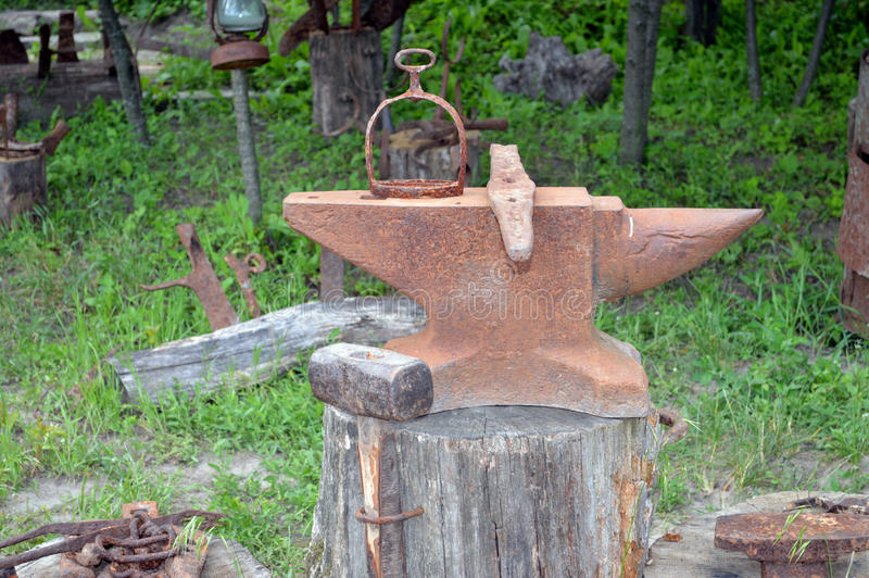 Old blacksmith anvil royalty free stock photography