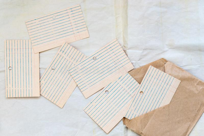 Old blank card files, lined and laid out. Paper for writing on envelopes from craft paper. Concept school, planning royalty free stock images