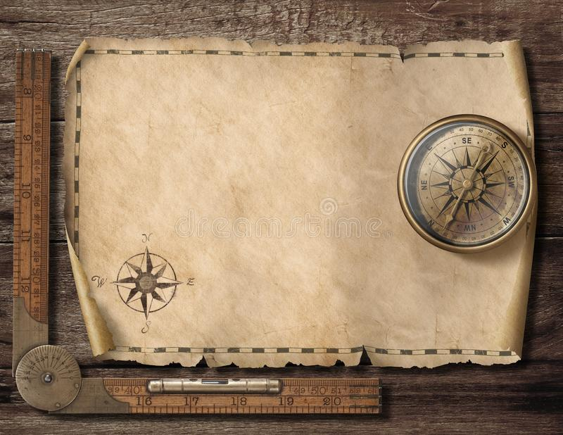 Old blank map background with compass. Adventure and travel concept. 3d illustration. royalty free stock photography