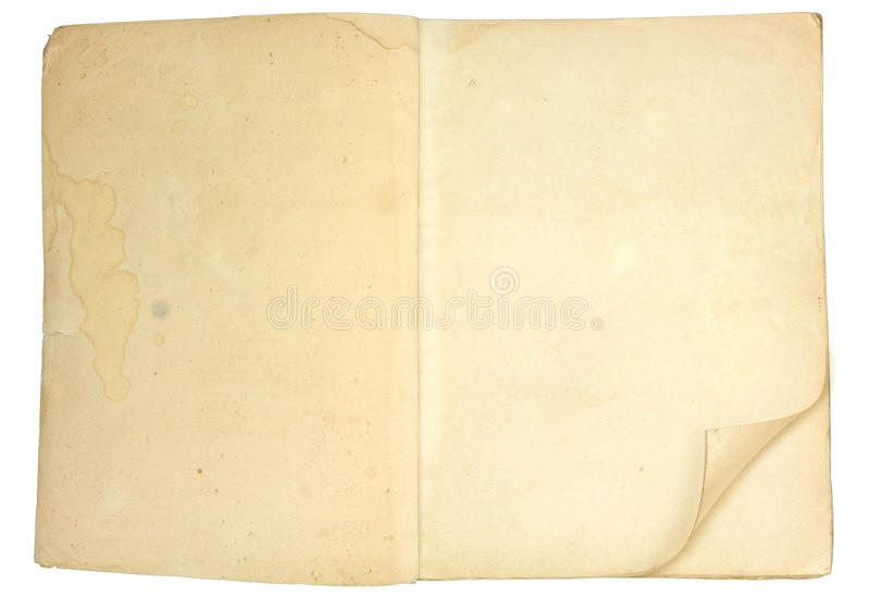 Old blank open book with grungy pages stock photos