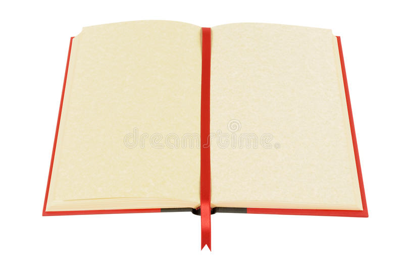 Old blank open book, red ribbon bookmark isolated on white background stock photo