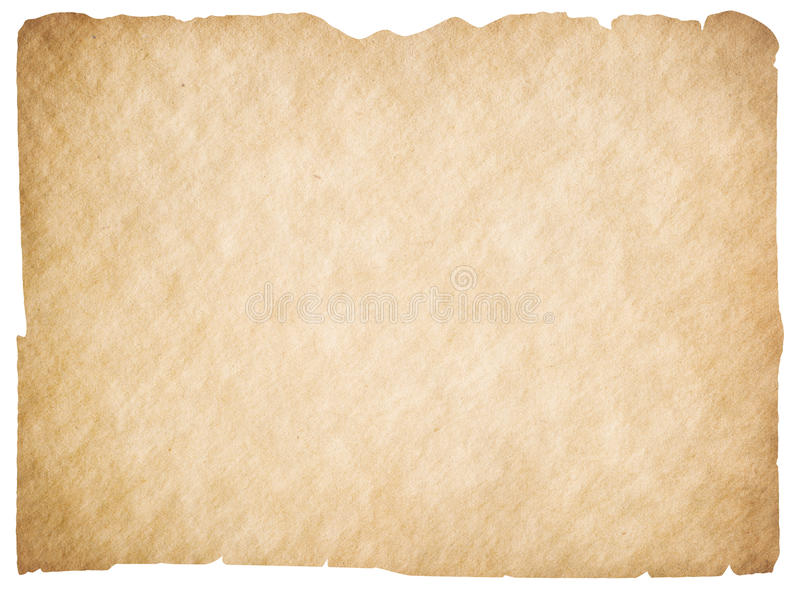 Old blank parchment or paper isolated. Clipping path is included. royalty free stock image