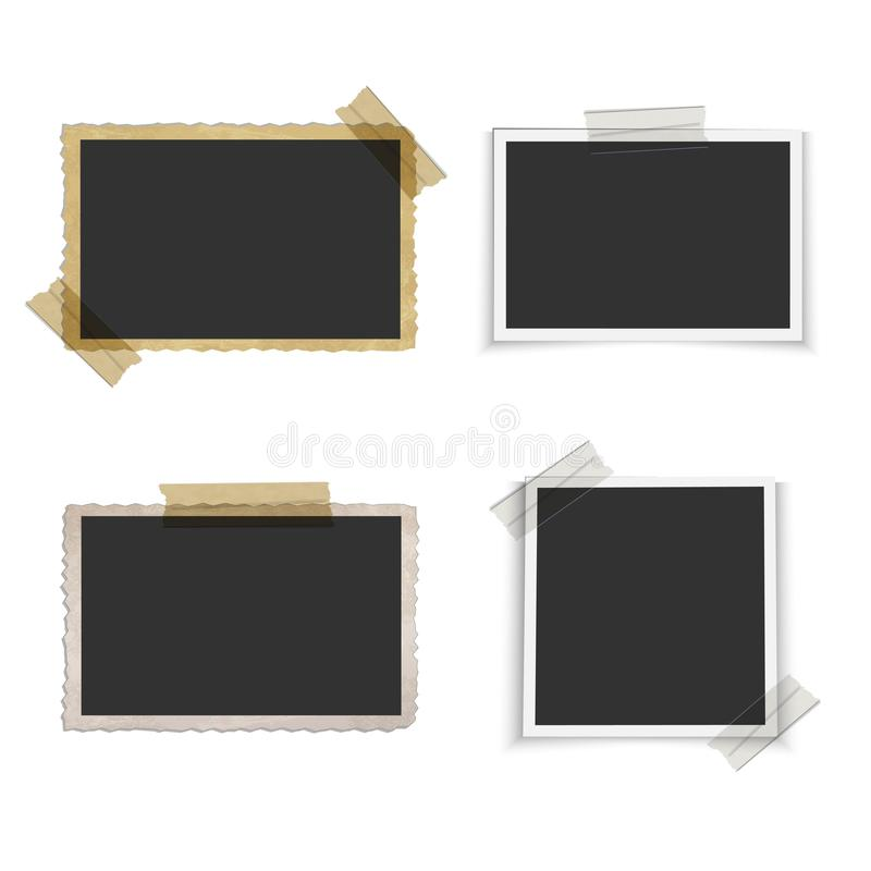 Old Blank Photo Frame With Tape Stock Vector - Illustration of frame ...