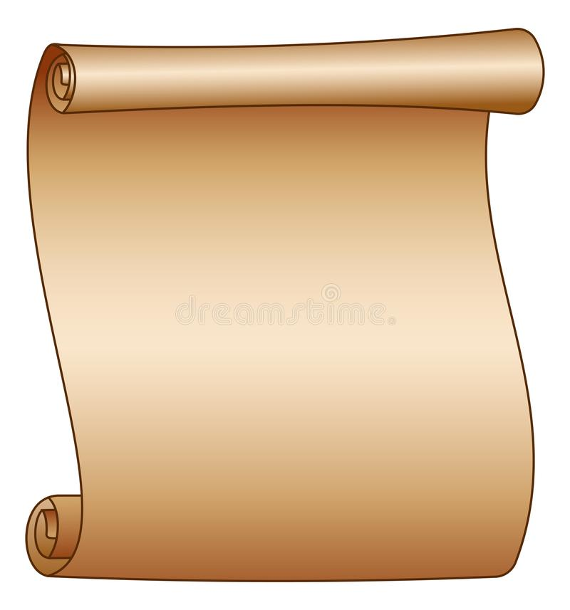 Old blank scroll paper on white background stock illustration