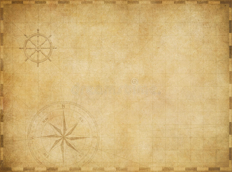 Download Old Blank Vintage Nautical Map On Worn Parchment Stock Photo