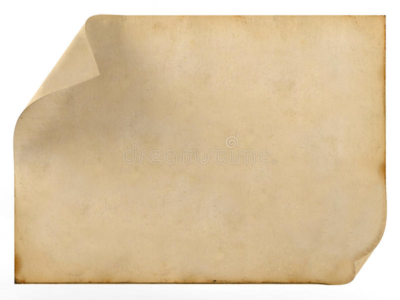 Old blank vintage paper. On white background stock photos
