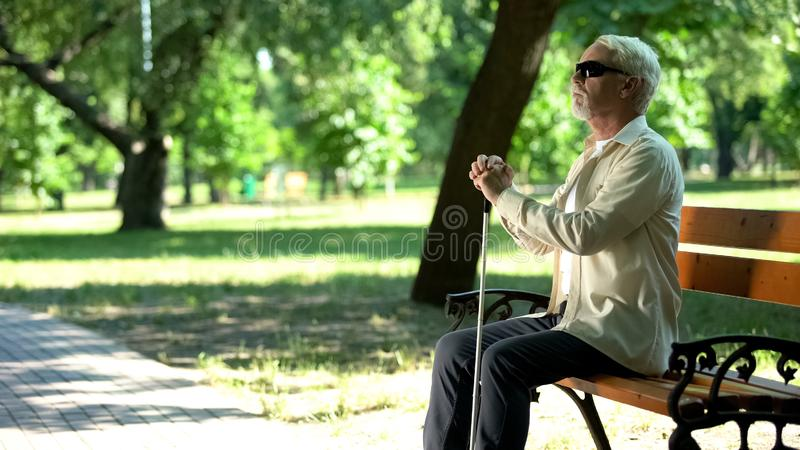 Depression Old Man Sitting Bench Stock Images Download