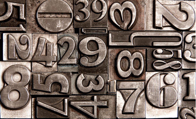 Old block numbers royalty free stock photography