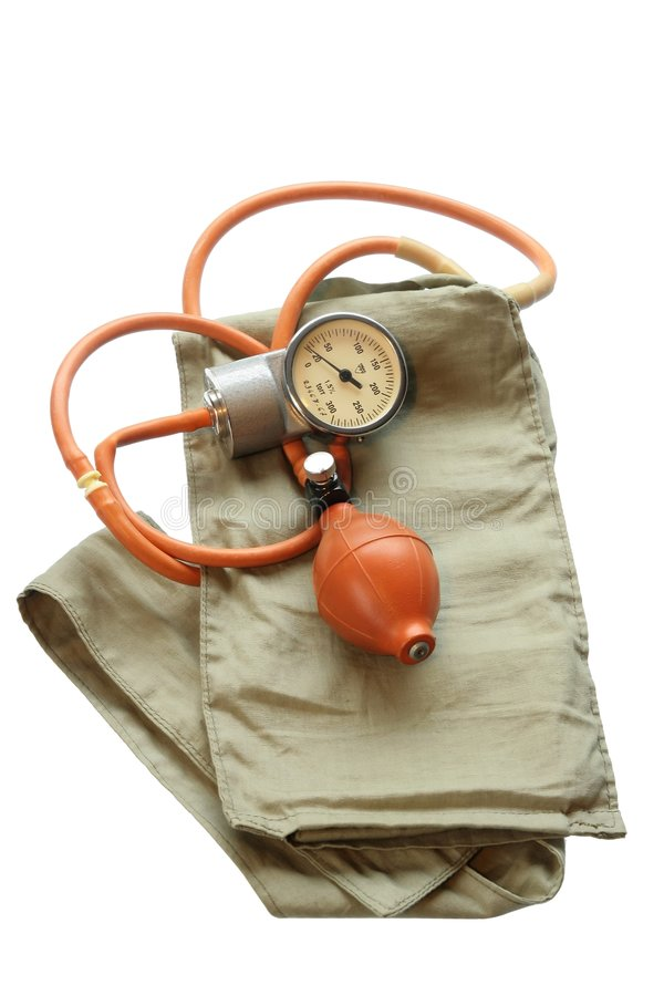 Old blood pressure cuff. Isolated on white background royalty free stock photo
