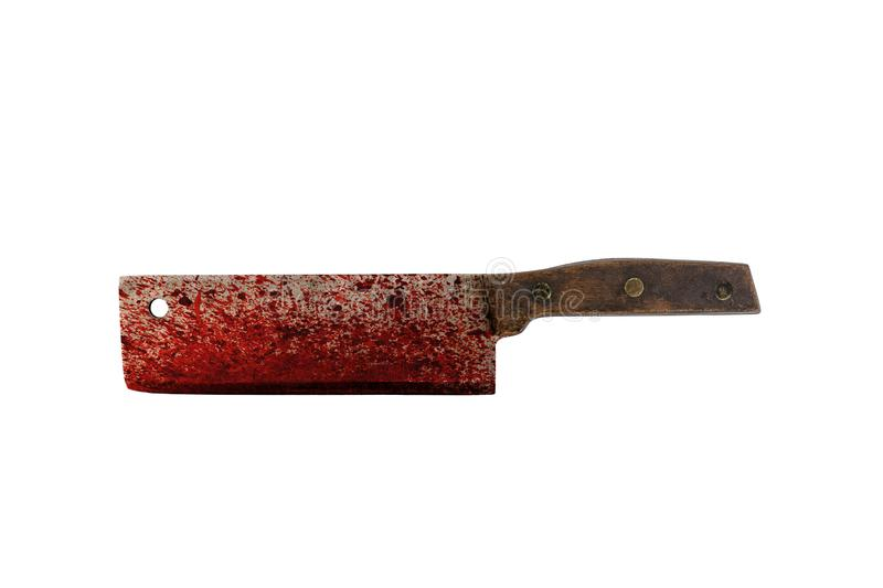 Old bloody meat cleaver isolated on white background. With cliiping path stock photography